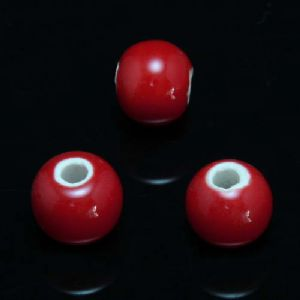 Beads, Porcelain, Pinkish red , Round shape, Diameter 6mm, 10 Beads, [TCZ0148]